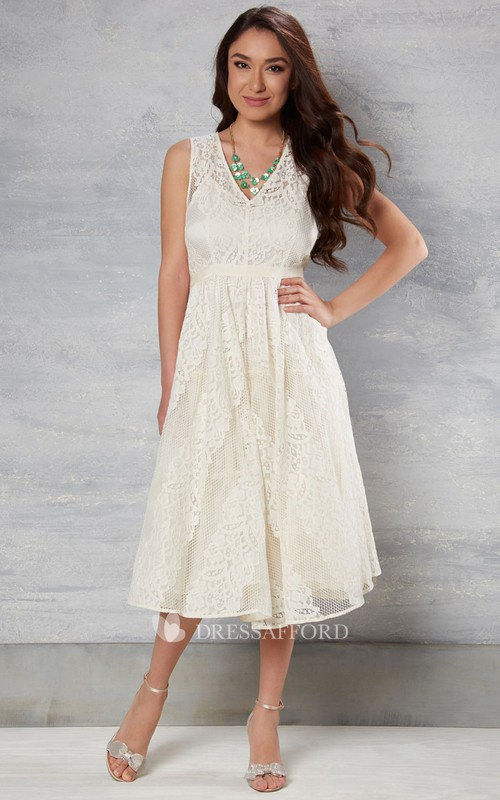 Plunged Sleeveless Lace Tea-length Dress With Draping And Zipper