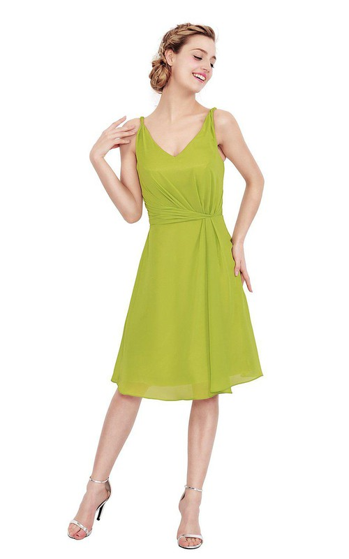 Strapped short Knee-length Chiffon Dress With Zipper