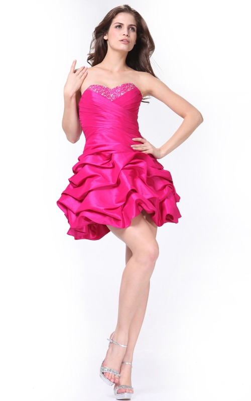 A-Line Lace-Up Pick Up Jeweled Short Mini Sleeveless Sweetheart Satin Dress