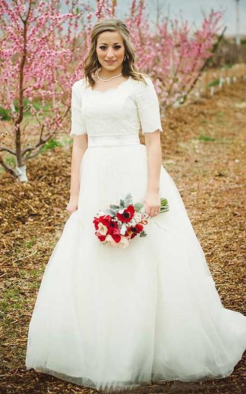 Scoop Lace Tulle Illusion Half Sleeve Wedding Dress
