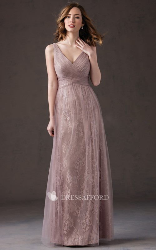 Deep-V-neck Sleeveless Tulle Criss cross Dress With Lace