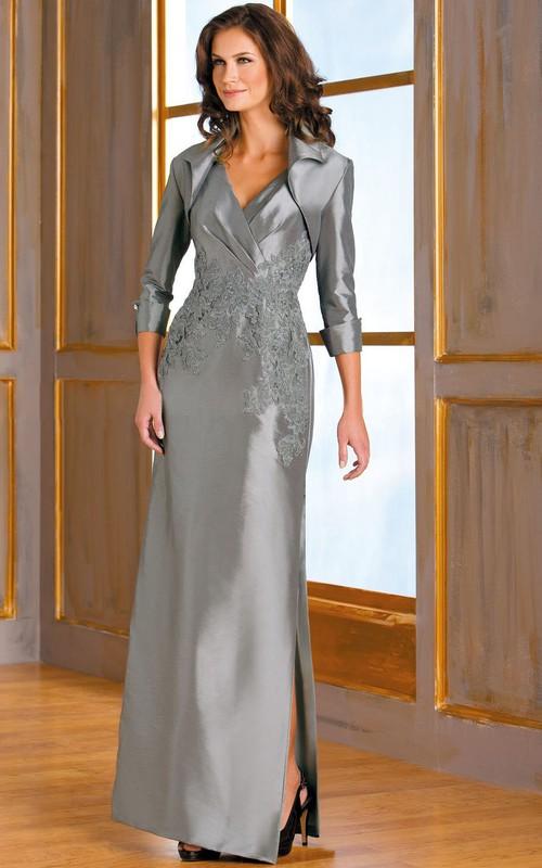 Appliqued Jacket Inspire V-Neckline Sleeveless Mother Of The Bride