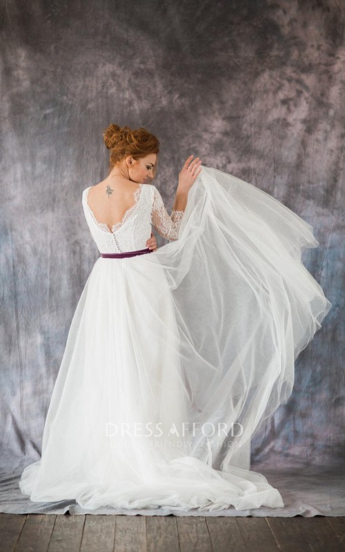 Organza Bateau Neck Satin Ribbon A-Line Long-Sleeve Dress