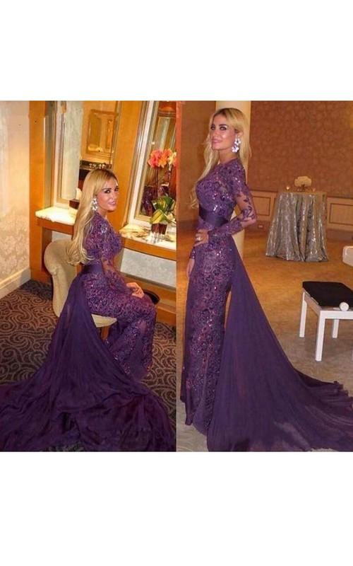 Lace Illusion Long-Sleeve Trumpet Chiffon Dress