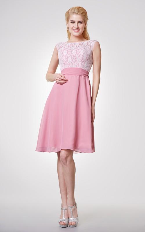 Bateau Lace Cap-sleeved A-line Short Dress With Chiffon Skirt
