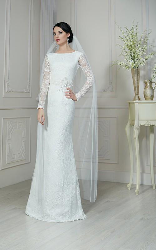 Illusion-Sleeve Floral Satin Sash Floor-Length Sheath Lace Dress