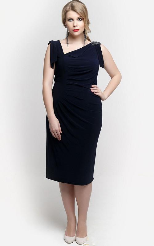 Knee-Length Applique Column Asymmetric-Neckline Dress