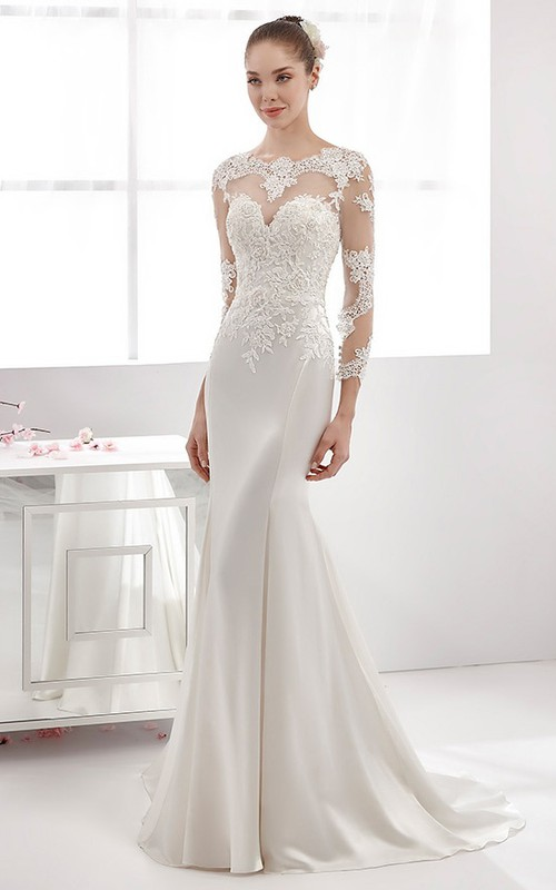 Sheath Illusion Long Sleeve Satin Lace Dress With Appliques