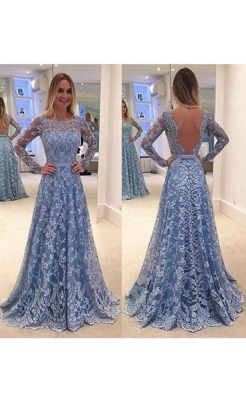 Appliqued Deep-V-Back Brush-Train A-Line Lace Gown