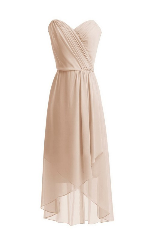 Sweetheart Ruched High-low Chiffon Bridesmaid Dress With Zipper