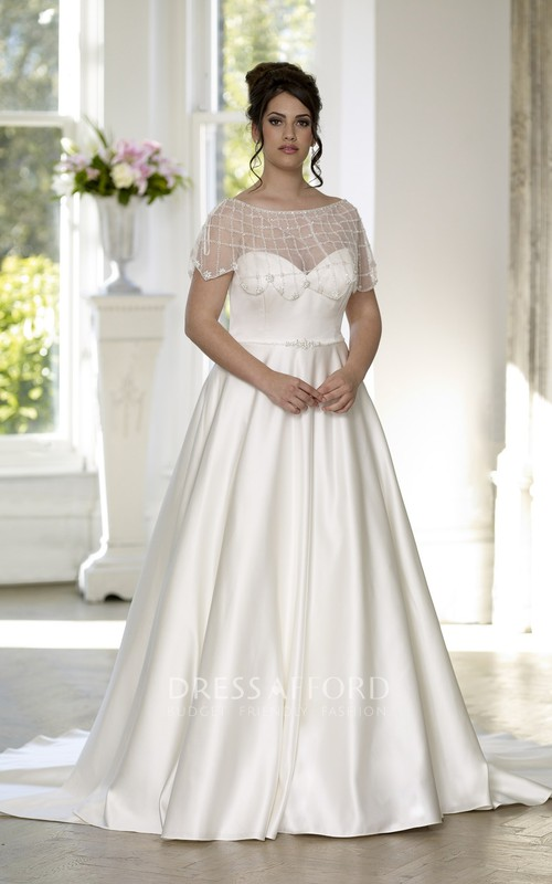 Sweetheart Satin Long A-Line Court-Train Sleeveless Gown