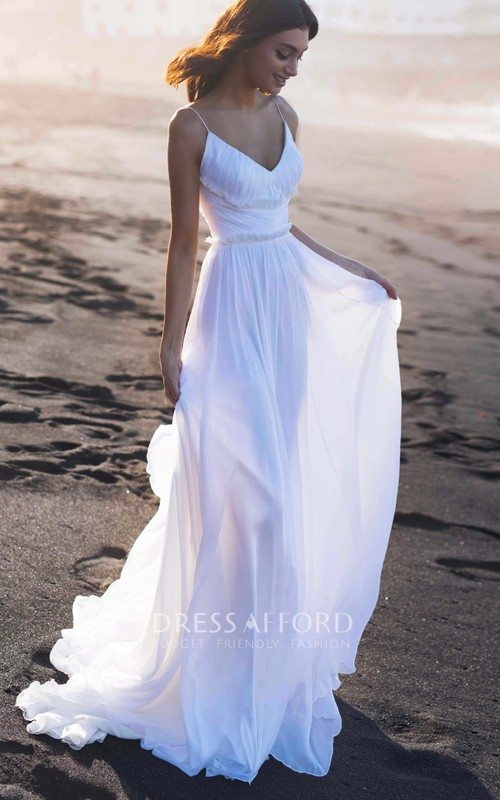 Ethereal Spaghetti A Line Chiffon Chapel Train Deep-V Back Wedding Dress