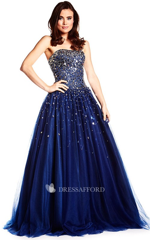 Strapless Beaded A-line Ball Gown With Pleats And Corset Back