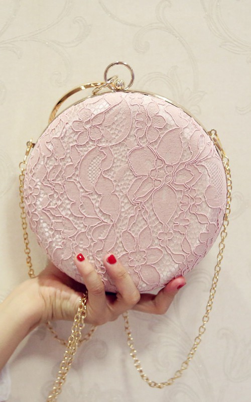 Round Laced Crystal Clutch