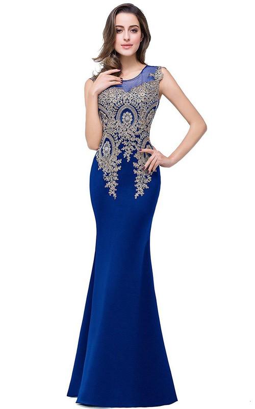 Satin Applique Long Scoop-Neckline Trumpet Lace Dress