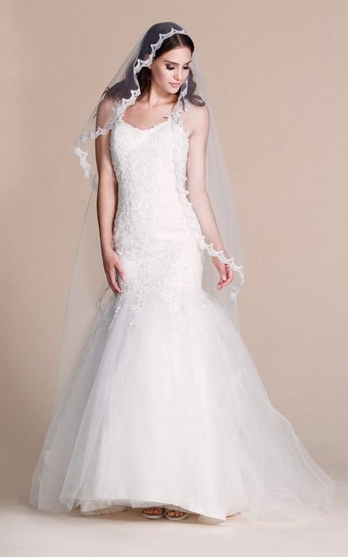 Appliqued Jewels Floor-Length Column Strapped Long Dress