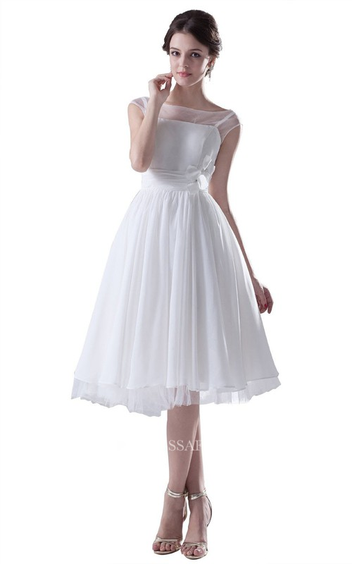 Bateau Cap-sleeve Chiffon A-line short Dress With Flower And Pleats