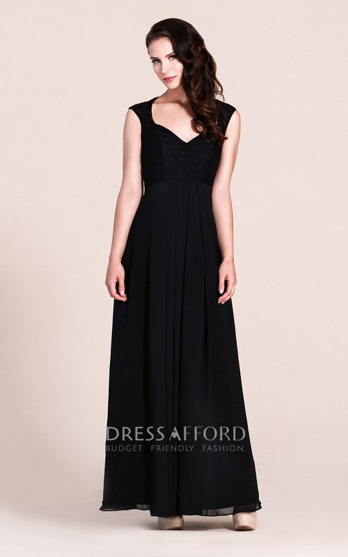 Illusion Back Floor-Length Plunging-Neckline Bridesmaid Dress