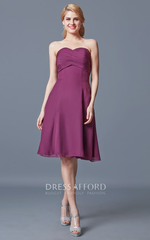 Sleeveless Empire Waist Short Chiffon Dress With Ruching