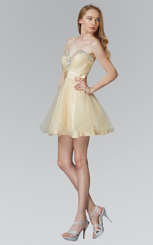 A-Line Satin Tulle Criss Cross Jeweled Short Mini Strapless Sweetheart Sleeveless Dress