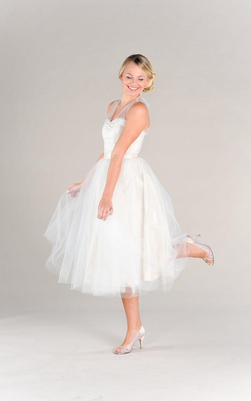 Tulle Illusion Bridal Strapped Short Lace Dress