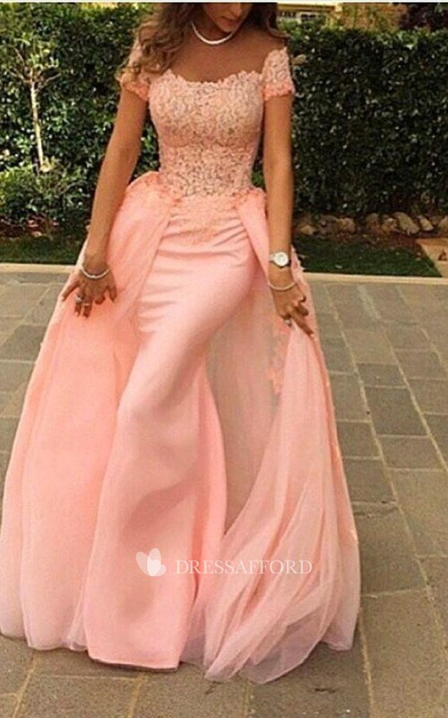 Modern Off-the-shoulder Mermaid Tulle Evening Dress Floor-length Lace