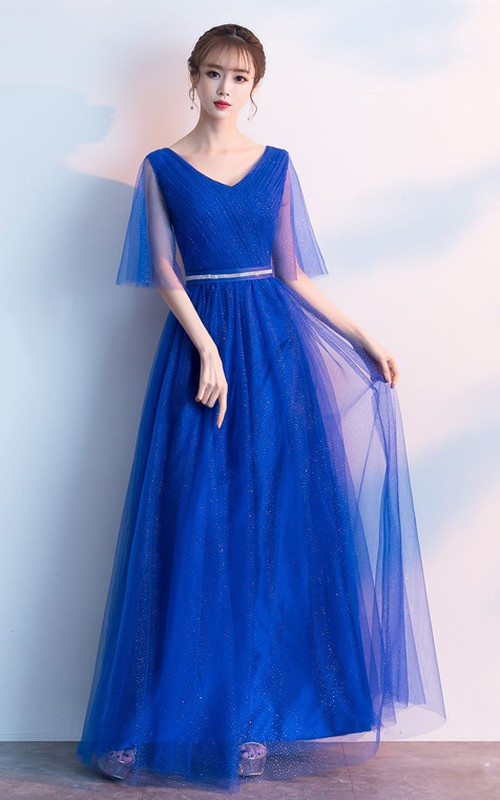V-neck Tulle Floor-length Guest Formal Dress With Ruching