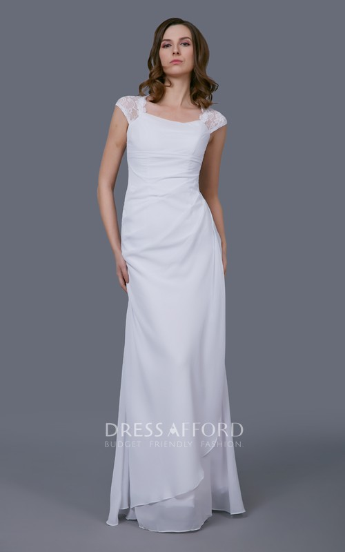 Wedding Lace Cap Sleeves Side-Draped Elegant Gown