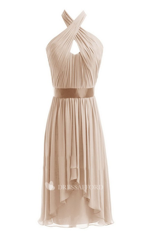 Chiffon Crisscross Neckline Short Sleeveless Dress