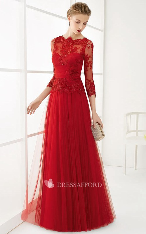 Bateau 3/4 Length Sleeve long Tulle Dress With Lace And Appliques