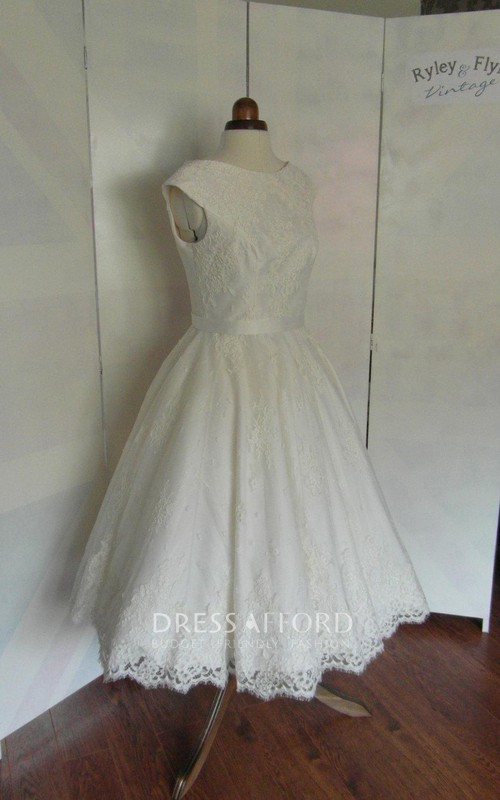 Pleated Tea-Length Jewel-Neckline Cap-Sleeve Wedding Lace Gown