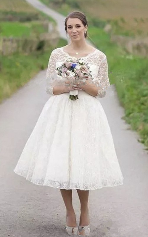Vintage Tea-length Wedding Dress With 3/4 Illusion Lace Sleeve And Buttons