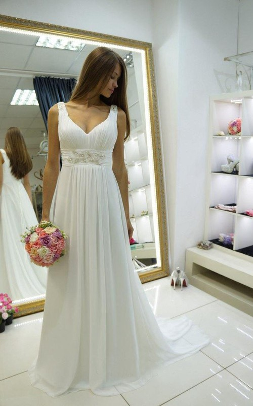 V-Neckline Wedding Strapped Empire Chiffon Dress