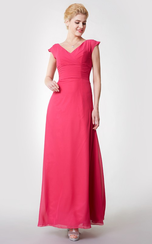 Chiffon Low-V Back A-Line Cap-Sleeved Gown