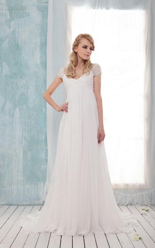 Floor-Length Ruched Pleats Cap V-Neckline Wedding Dress