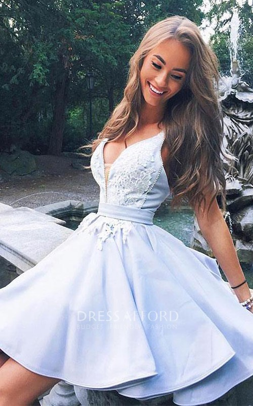 V-neck Satin Sleeveless A Line Short Homecoming Dress with Lace
