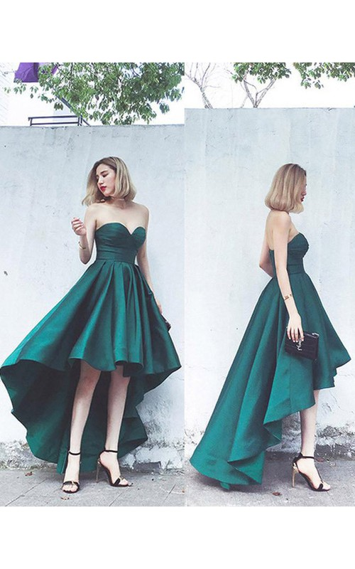 Impressive Sweetheart Empire Satin High-Low Lace-up Gown with Ruching