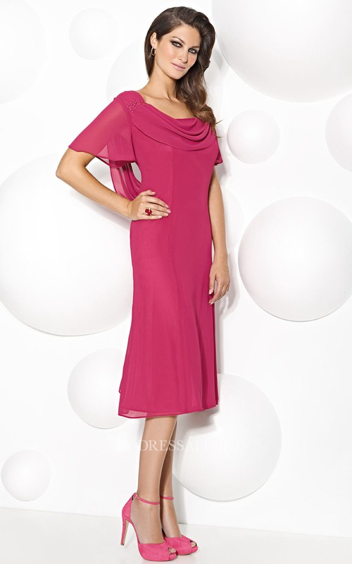 cowl-neck Short Sleeve Tea-length Dress With Illusion Appliqued back
