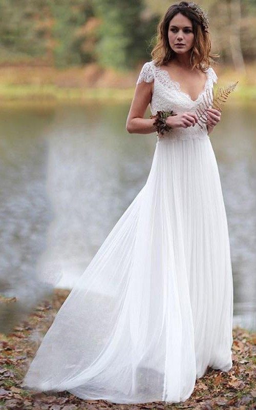 Simple Sheath Chiffon and Lace Cap Sleeve Wedding Dress