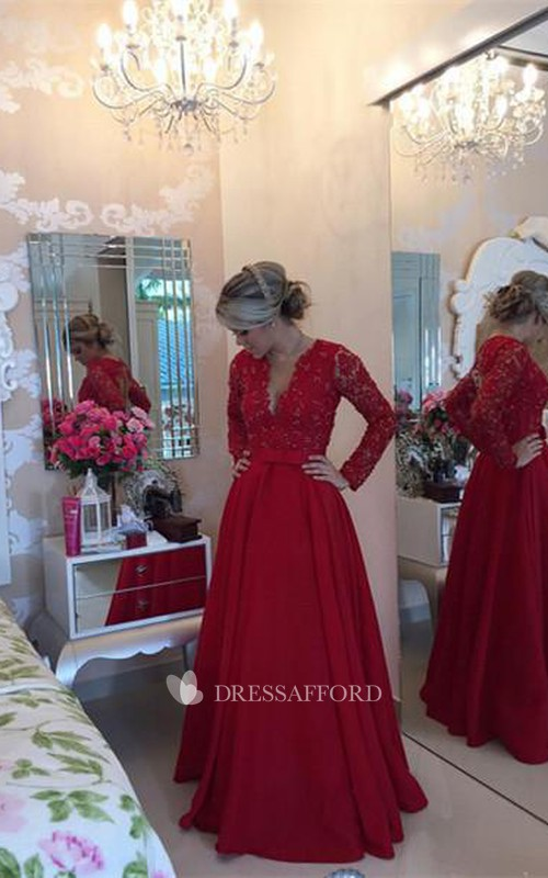 Taffeta Pearls Long Sleeve Formal Red Delicate Lace Dress