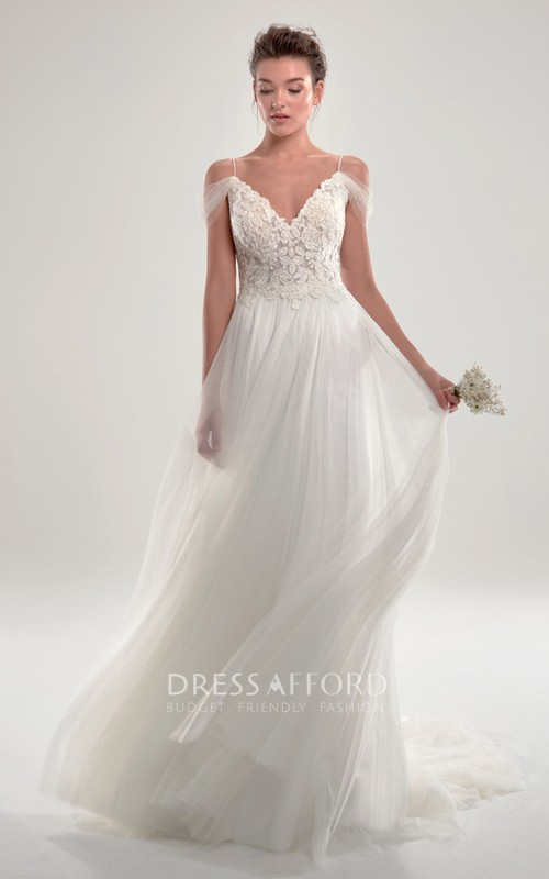 Glamorous Sheath Off The Shoulder Spaghetti Wedding Dress