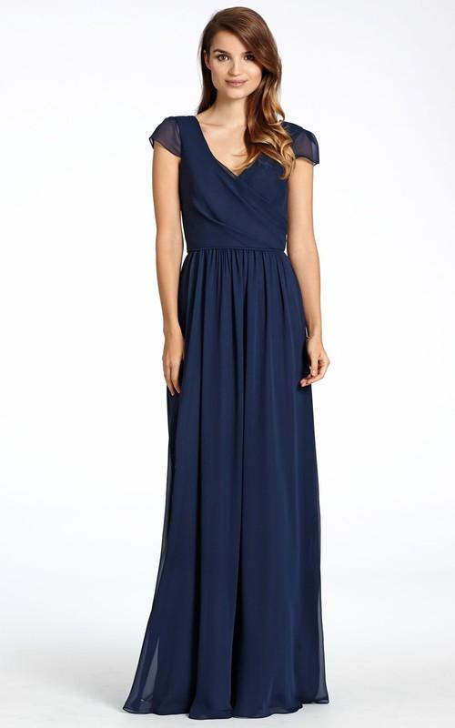 V-neck Cap-sleeve Chiffon long Bridesmaid Dress With Low-V Back