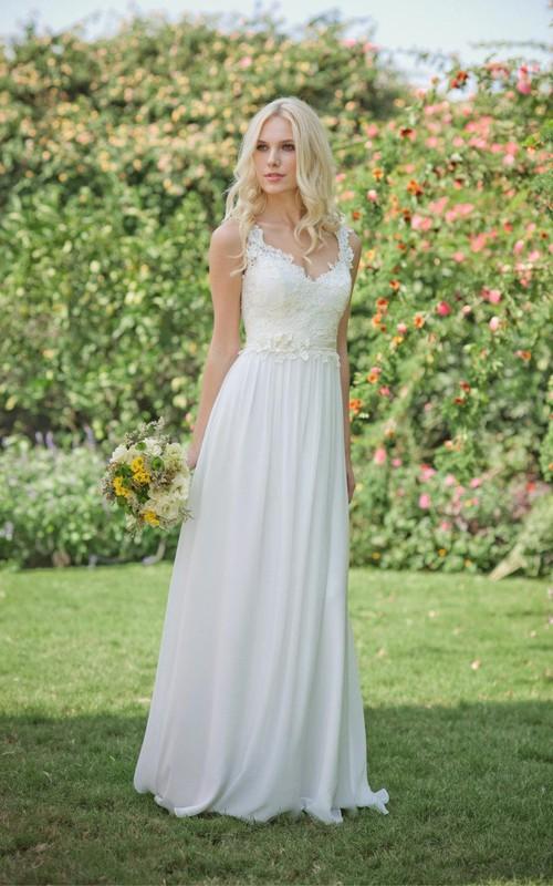 Chiffon Jewel Floral Bridal Floor-Length Long Lace Dress