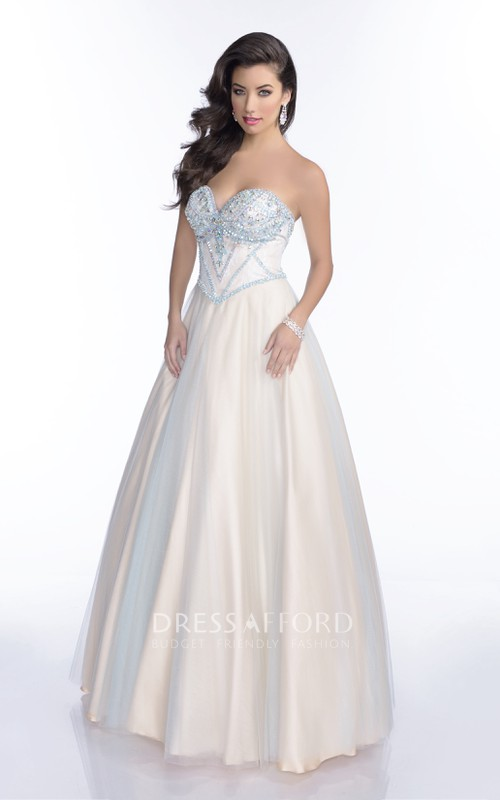 Tulle Jeweled Bust Featuring Lace-Up Back A-Line Sweetheart Formal Strapless Dress