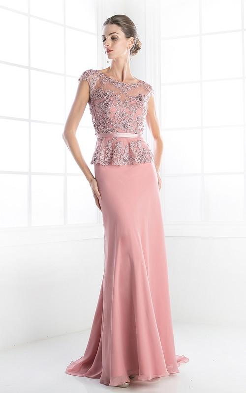Column Peplum Jeweled Long Scoop-Neck Jersey Cap-Sleeve Illusion Dress