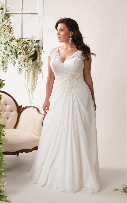 Cap-sleeve Lace Chiffon Floor-length plus size wedding dress With Criss cross