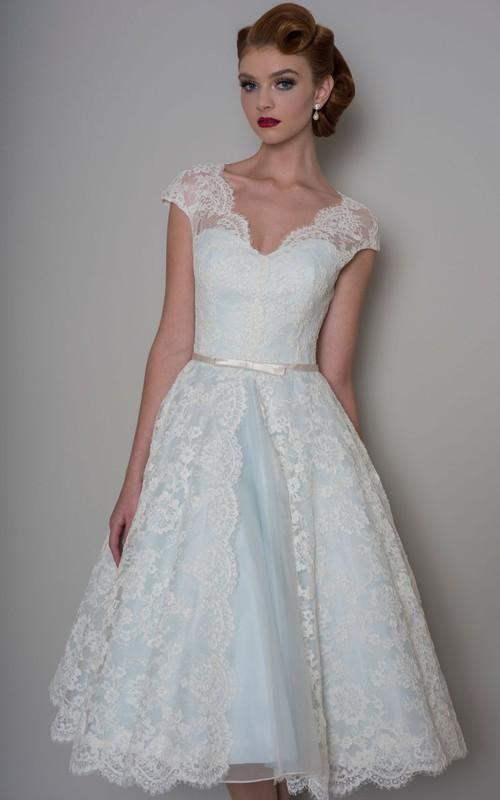 V-neck Cap-sleeve midi Dress lace Illusion top