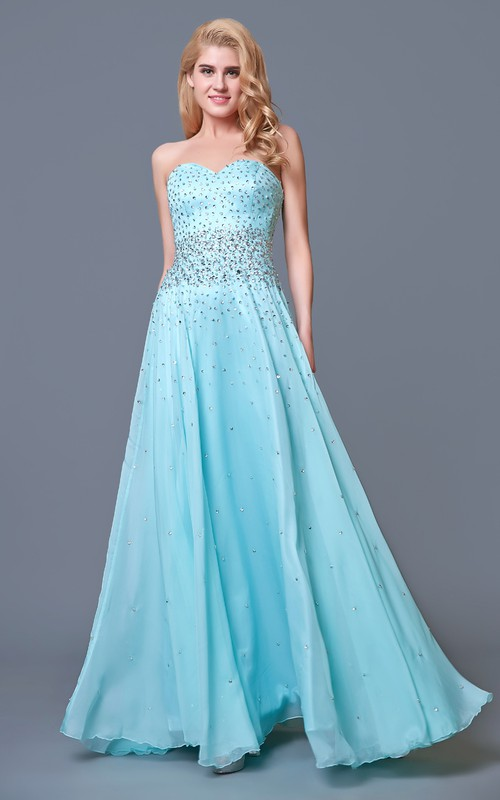 Jeweled Layered Chiffon Chic Glam A-Line Sweetheart Gown