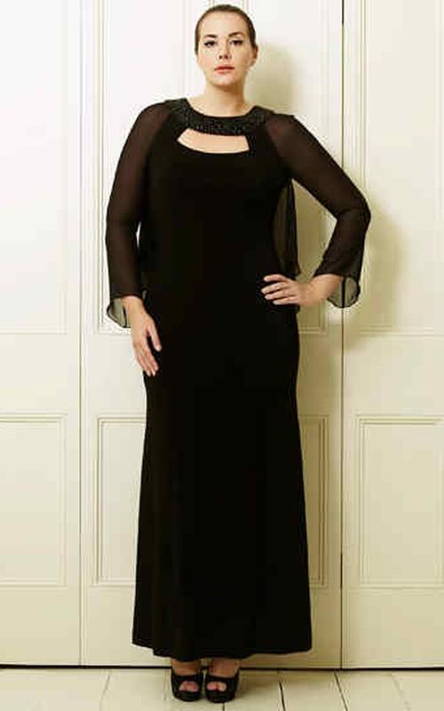 Jewel-Neck Illusion Long Sleeve Knee-length Chiffon Dress