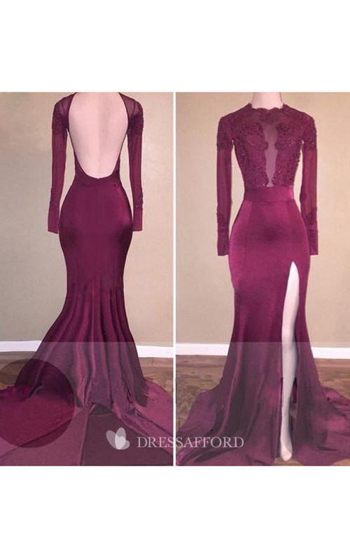 High Neck Satin Lace Long Sleeve Sweep Brush Train Appliques Beading Split Front Embroidery Dress